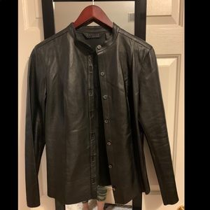 Genuine leather button down shirt